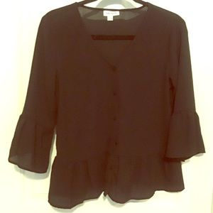 Black Peplum Blouse with Bell Sleeves